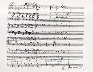 Image of Handel's Hallelujah Chorus score dated 1741