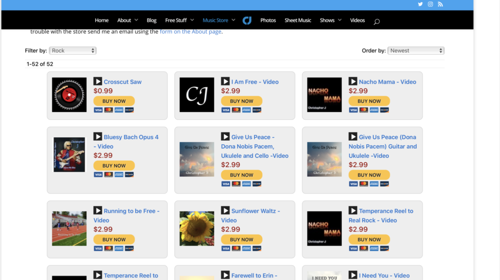 CJ Music Store Screen Shot